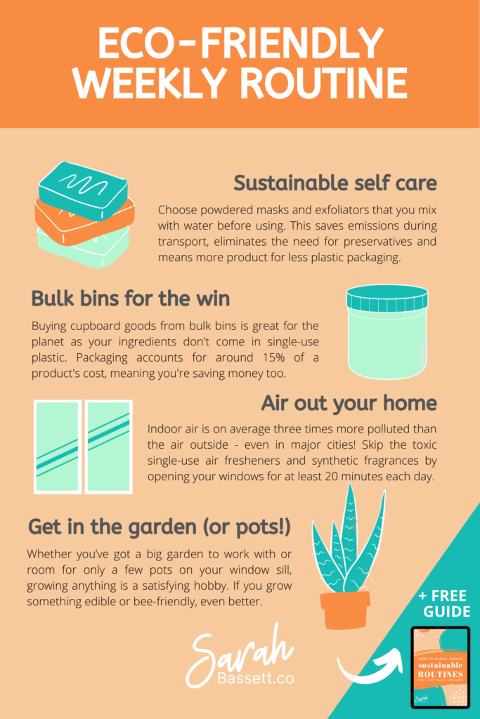 This eco-friendly and sustainable weekly routine features plastic-free meal prep, natural cleaning products and other zero waste ideas. It'll save you money and help the planet!