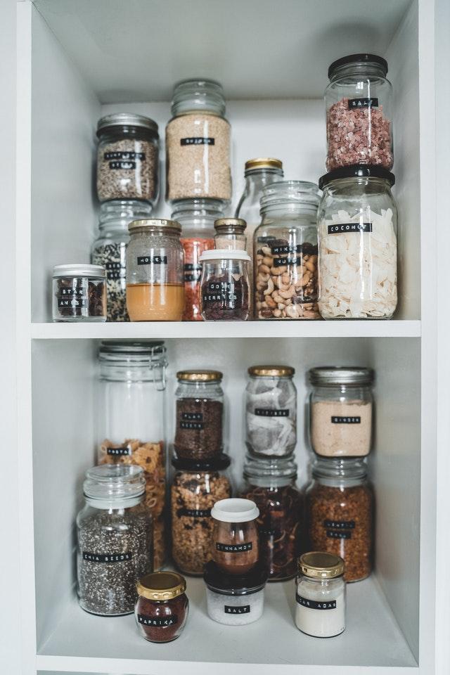 Glass jars for zero waste eco-friendly living